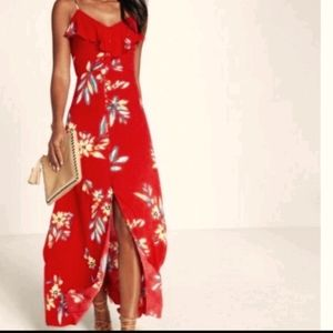 Express red floral long dress